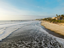 Aerial View Of San Clemente Beach And Coastline Before Sunset Time . San Clemente City In Orange County, California, USA. Travel Destination In The South West Coast. Famous Beach For Surfer.
