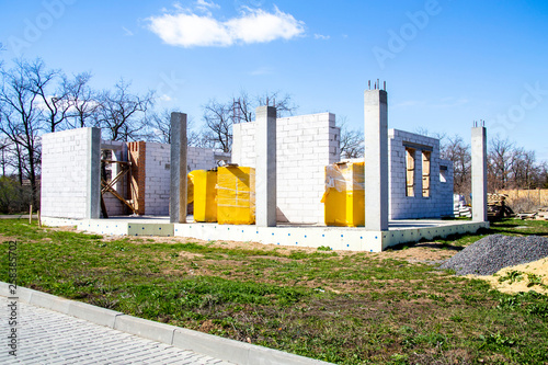 Photo house under construction with autoclaved aerated concrete block structure
