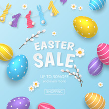 Vector Easter Sale Banner With Colored 3D Realistic Eggs, Camomiles And Pussy Willow On Blue Background. Festive Template With Garland Of Paper-cut Rabbits For Flyers With Special Or Discount Offers.