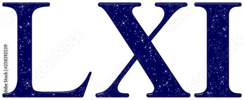 Fotografia  Roman numeral 61, sixty one, star sky texture imitation, isolated on white backg