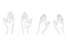 Vector Sketch Illustration - Women's Hands.