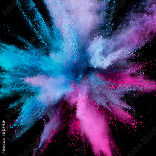 Türaufkleber Rauch Colored powder explosion. Abstract closeup dust on backdrop. Colorful explode. Paint holi