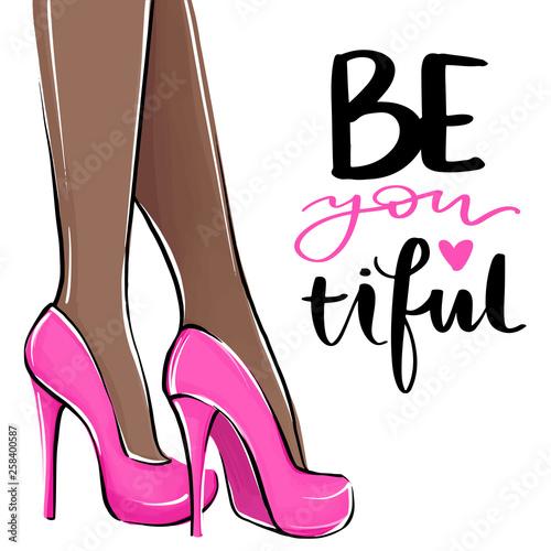 Fotomural Vector girl in high heels