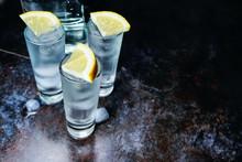 Vodka. Shots, Glasses With Vod...