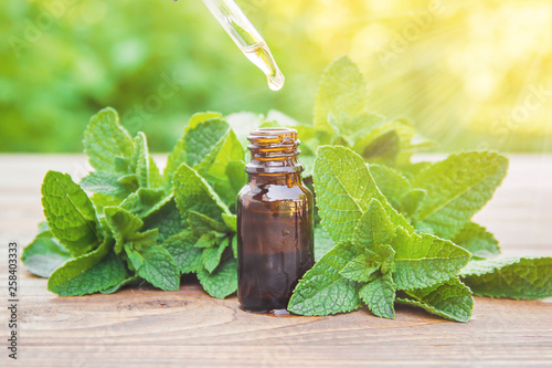The mint extract in a small jar. Selective focus. Wallpaper Mural