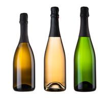 Three Blank Champagne Bottles