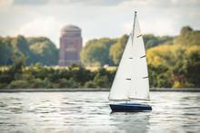 Germany, Hamburg, Model Boat On Model Boat Pond At The City Park