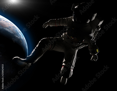 Garden Poster Martial arts Astronaut lost in space. 3D illustration