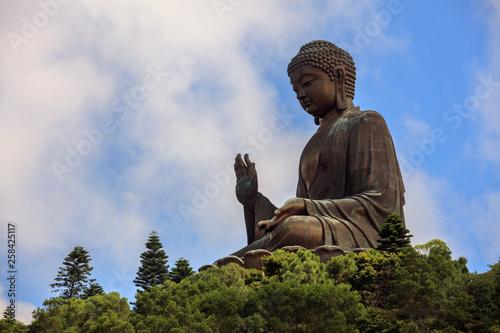 Photograph of Tian Tan Buddha, Big Buddha Statue of Buddha Shakyamuni - World's tallest outdoor seated bronze Buddha located in Ngong Ping, Lantau Island Hong Kong.