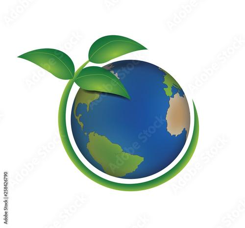 Carta da parati Pianeta terra ecologico con pianta verde intorno