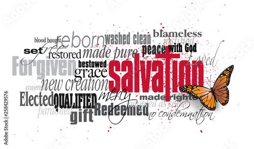 Leinwand Poster Salvation word montage with Christian Cross and New Life Butterfly