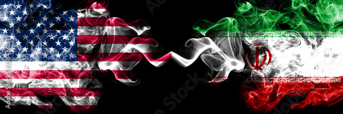 Fotografie, Obraz  United States of America vs Iran, Iranian smoky mystic flags placed side by side