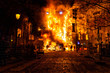 Valencian Falla burning in a street
