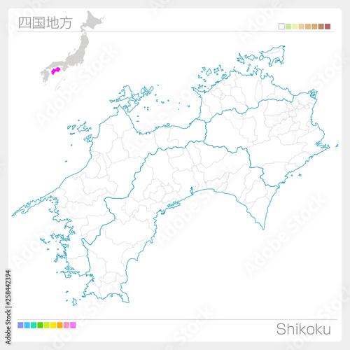 Foto 四国地方の地図・Shikoku(白地図風)