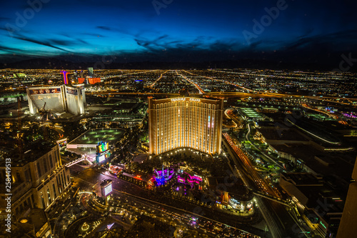 Las Vegas skyline at sunset - The Strip - Aerial view of Las Vegas Boulevard Nev Canvas Print