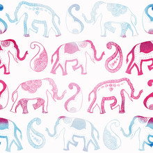 Indian Ornament Elephant Paisley Blue Pink - Endless Pattern Watercolor