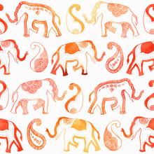 Indian Ornament Elephant Paisl...