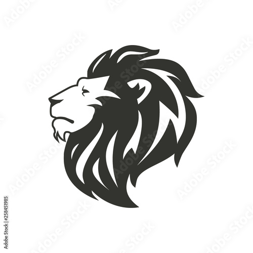 Fototapety, obrazy: Black lion silhouette isolated on white background.