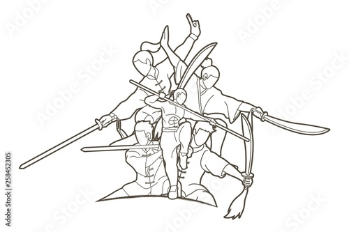 Fotografie, Obraz Kung Fu fighter with weapons, Martial arts action pose cartoon graphic vector