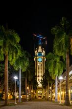 Aloha Tower Lit Up At Night Wi...