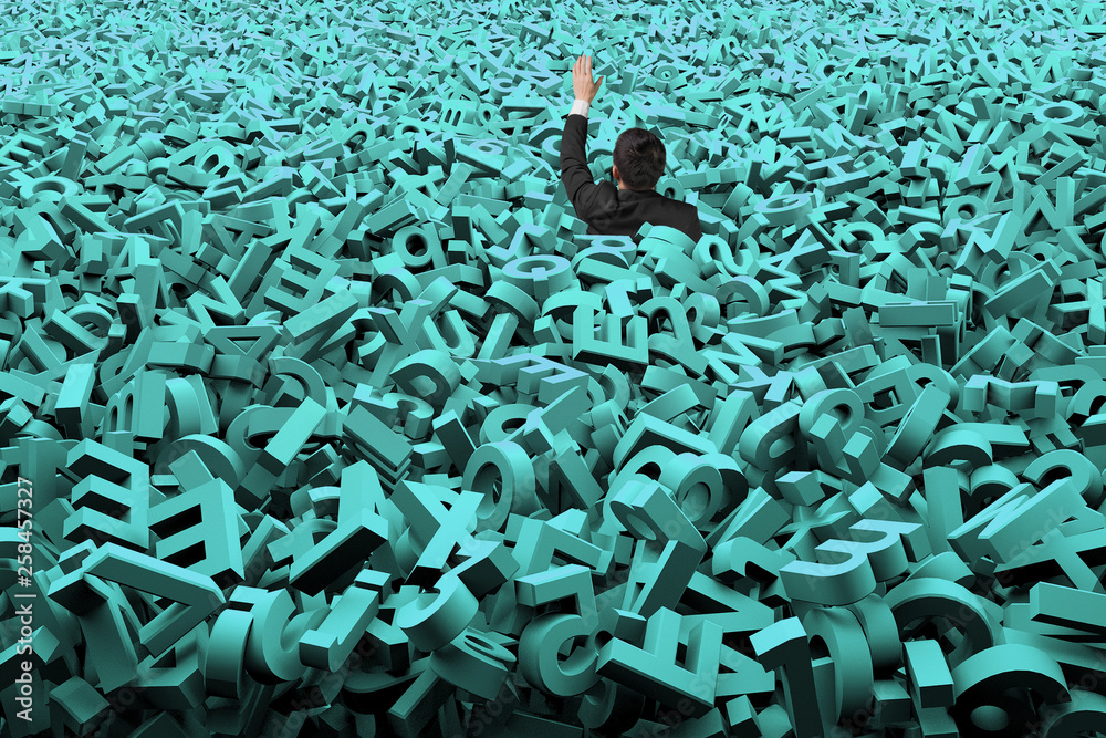 Fototapety, obrazy: Big data concept, businessman was overwhelmed by huge amount of 3d green letters and numbers background.