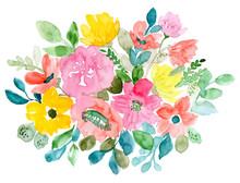 Sweet Floral Arrangement Watercolor Background