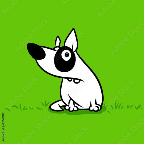 White dog comedian parody animal character cartoon illustration green meadow bac Wallpaper Mural