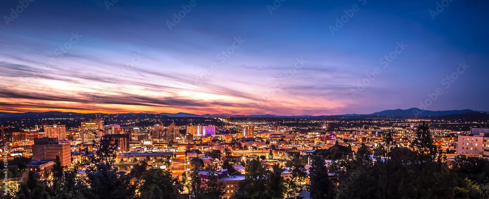 Fototapeta Panoramic View Spokane Washington Downtown City Skyline