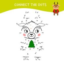 Educational Game For Kids. Dot To Dot Game For Children. Cartoon Cute Deer.