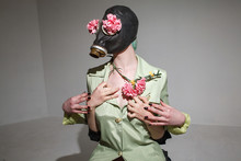 Funny Fetish Girl Wearing Gas Mask. Crazy Playful Gonzo Concept