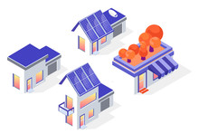 Set Of Urban Small Houses. Isometric Illustration On A White Background. Solar Panels On The Roof. Sun Alternative Energy. Green House