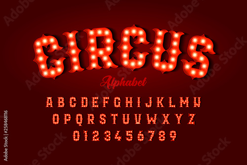 Fototapeta Circus style font design, alphabet letters and numbers