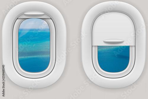 Fotografie, Obraz  Fenster im Flugzeug mit Blick auf das Great Barrier Reef