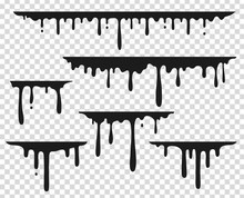 Black Dripping Stain. Liquid P...