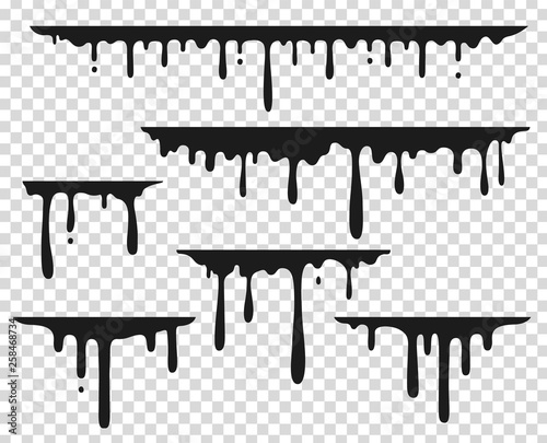 Fototapety, obrazy: Black dripping stain. Liquid paint splash, chocolate flow border, caramel splatter leak, melt paint drop. Vector black ink dripping set