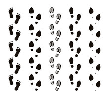 Footprint Trails. Bare Feet Human Footsteps, Funny People Foot Steps, Follow Concept, Black Silhouettes. Vector Footprints Route Set