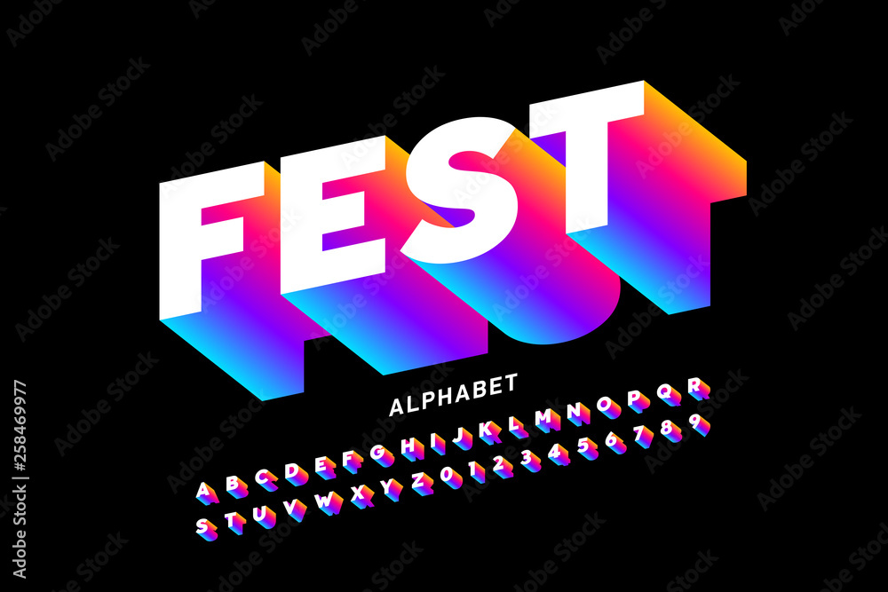Fototapety, obrazy: Fest style bright font design, alphabet letters and numbers