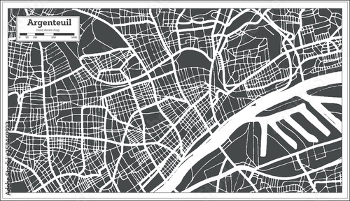 Photo Argenteuil France City Map in Retro Style
