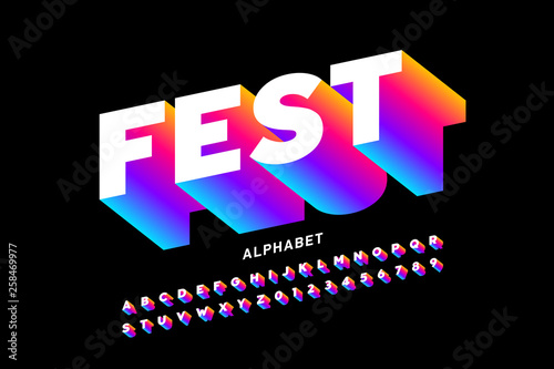 Foto Fest style bright font design, alphabet letters and numbers