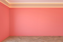 Empty Coral, Pink Color Interior With Blank Wall, Mouldings, Ceiling Backlit And Wooden Chevron Parquet Floor. 3d Render Illustration Mock Up.