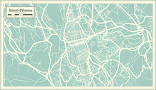 Saint-Etienne France City Map In Retro Style. Outline Map.