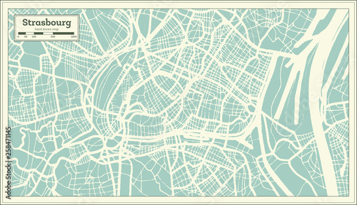 Fototapety, obrazy: Strasbourg France City Map in Retro Style. Outline Map. Vector Illustration.