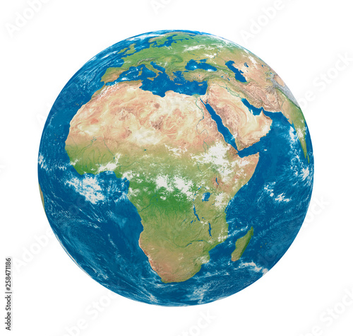 Fotografie, Tablou  Planet Earth Africa View Isolated
