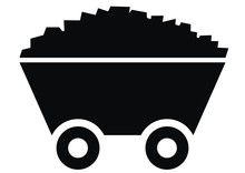TrolleTrolley With Coal, Black Vector Icon. Silhouette Of Wagon With Stone.y With Coal