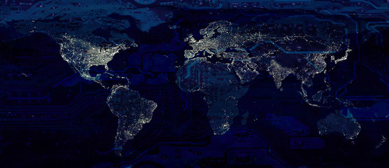World map city lights and dark motherboard hi technology conceptual collage. Elements of this image furnished by NASA.