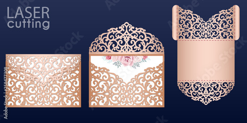 Fototapeta Laser Cut Wedding Invitation Card Template Vector Wedding Pocket Envelope Or Greeting Card With Lace Pattern Open Card With Roses