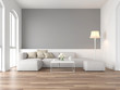 canvas print picture - Minimal style vintage living room 3d render,There are wood floor and  gray wall,Furnished with white fabric sofa ,There are arch shape window nature light shining into the room.