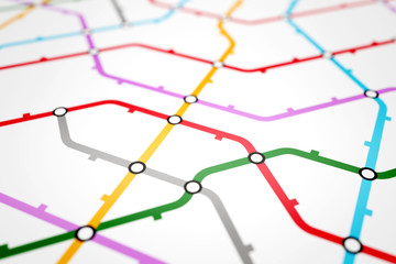 Colorful metro scheme, railway transport or city bus map