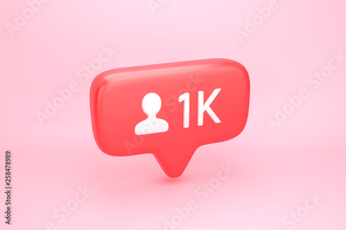 Obraz na plátně One thousand friends or followers social media notification with heart icon