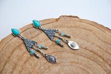 Handmade Silver Turquoise Long Boho Earrings. Trend Luxury Jewelry.